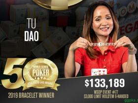 【GG扑克】女牌手Tu Dao赢得$3,000有限德扑六人桌赛事冠军,收获职业首条金手链!
