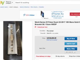 【GG扑克】2017 WSOP马拉松赛事金手链惊现eBay,起拍价$3,000