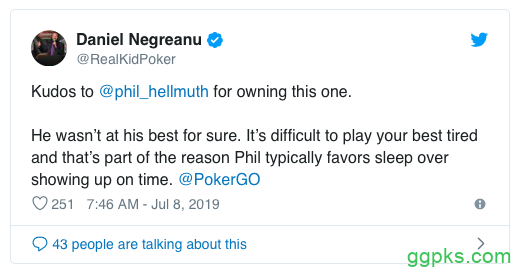 【GG扑克】Phil Hellmuth主赛出局,将所有责任归于自己