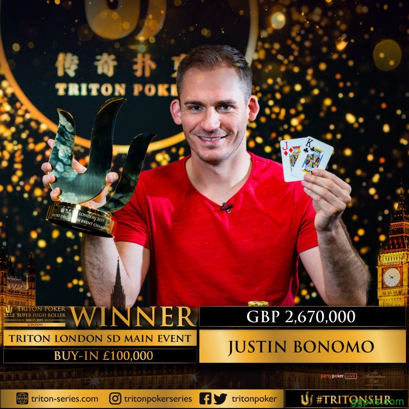 【GG扑克】Justin Bonomo斩获传奇伦敦站£100,000短牌主赛胜利,入账,257,400!