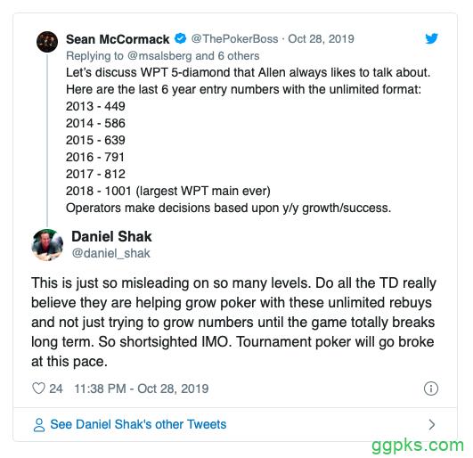【GG扑克】再买入和延迟报名时间赛事有伤害到扑克经济吗?
