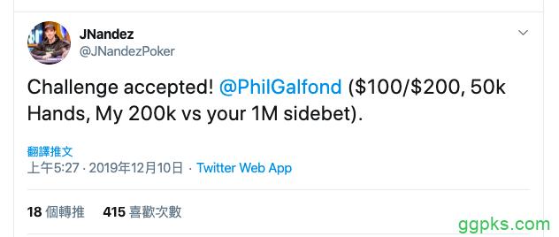 【GG扑克】JNandez成为Phil Galfond PLO挑战赛第二位挑战嘉宾