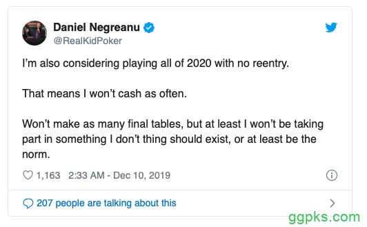 【GG扑克】Daniel Negreanu痛斥无限再买入扑克锦标赛的兴起