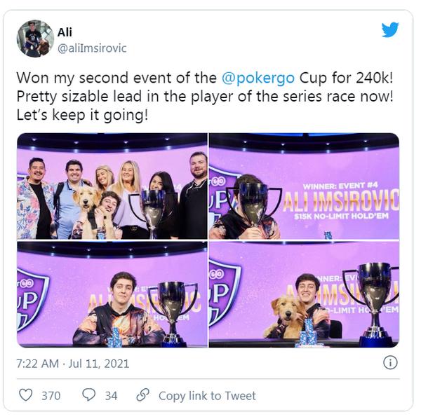 【GG扑克】拿下第八冠Ali Imsirovic在2021年已经超神