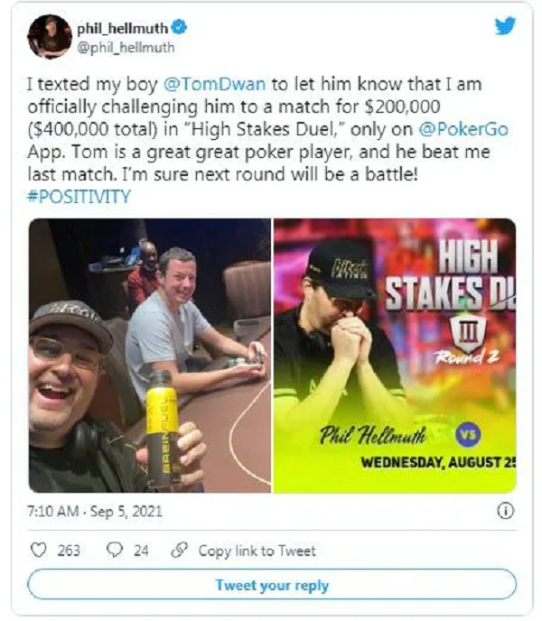 【GG扑克】不服就干,Phil Hellmuth向Tom Dwan发起复赛挑战!