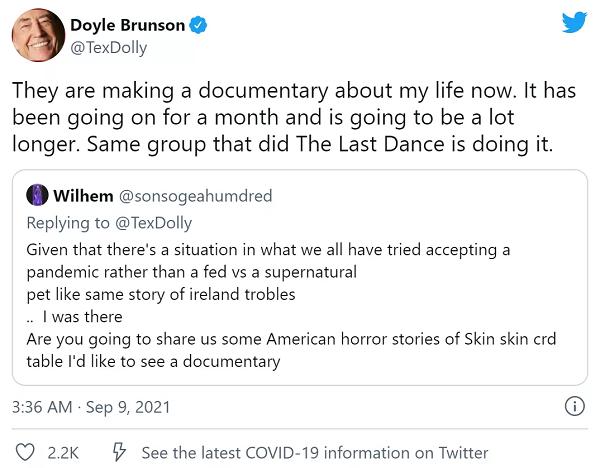 【GG扑克】Dolye Brunson纪录片正在火热拍摄中